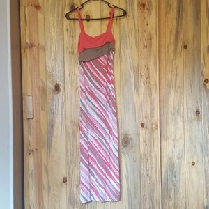 Pink and tan maxi summer dress